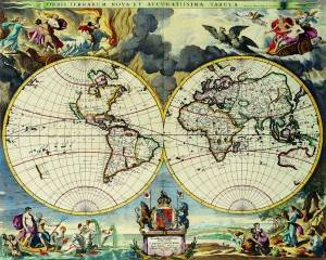 Antique Maps of the World Double Hemisphere Map Moses Pitt c 1680