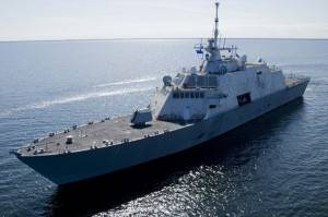 Future USS Freedom undergoes builder's trials on Lake Michigan near Marinette, Wisconsin